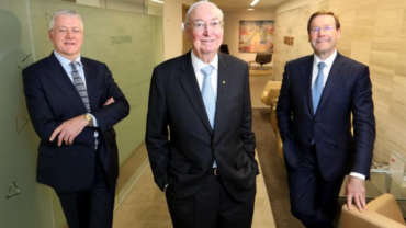 Farrel Meltzer, left, with Charles Goode and Tony Burgess. Picture: David Geraghty